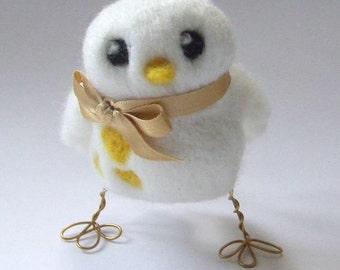 Tweet Christmas Tree Decoration White and Gold Snow Bird