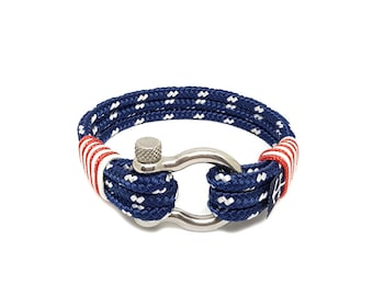 USA Anchor Bracelet by Bran Marion - Braided Rope Bracelet - Nautical Bracelet -  Sailor Bracelet