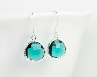 December Blue Zircon Birthstone Silver Earrings, Silver Earrings, Blue Zircon Silver Earrings, December Birthstone, #794