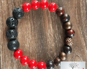 "Natural Stone Bracelet ""The Go-Getter"" (Riverstone, Lava rock, Brecciated Jasper)"