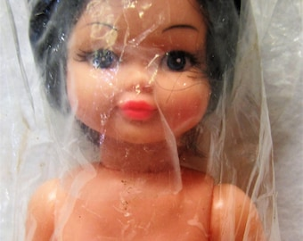 """DOLL, 14"""" BABY  Doll, Movable Arms & Legs, Blue Eyes, Blushed Cheeks, Pink Lips, Black Hair, Fair Skin Tone, White Shoes AM 486"""
