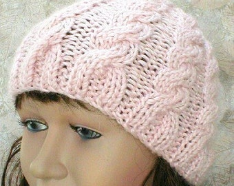 Blush pink cable knit beanie hat, alpaca hat, pink hat, cable hat, wedding hat, beanie hat, winter hat, womens knit hat, toque, chemo cap