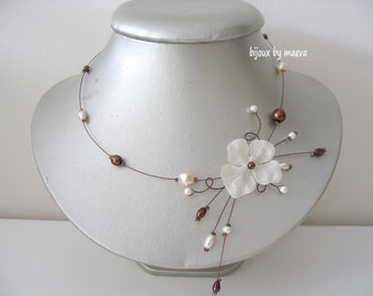 necklace bridal jewelry fancy ivory and brown beads and flower