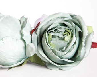One Large Rose in Sage - silk flowers, silk flower, artificial flower, artificial flowers - ITEM 01339