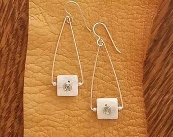 Antler Earrings, Elk Antler, Square Bail, Spiral, Sterling Silver, Dangle Earrings
