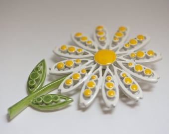 Vintage Coro Enameled Daisy Brooch, Flower Brooch, Flower Pin, Daisy Pin, Coro Pin Brooches, Enamel Jewelry, Enamel Pin, Enamel Brooch