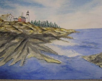 """Watercolor """"winter Lighthouse"""""""