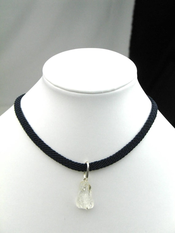 Choker Necklace in Navy Blue Cord with Citrine Nugget Pendant, November Birthstone, Gift for Her