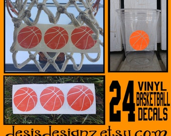 24 basketball vinyl decals athelete sports party Birthday party decoration sports balls birthday party vinyl cup sticker party cup stickers