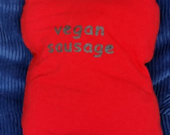 Vegan Sausage-Upcycled Safe-Sex Pillow, w/ Condom & Lube Pockets, OOAK, red, black