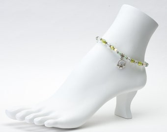 Irish crystal anklet with sterling Claddagh or shamrock charm