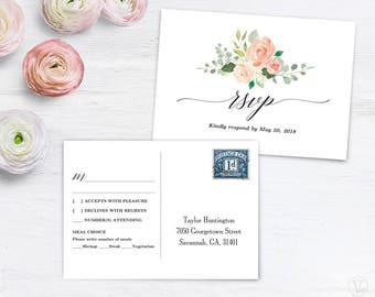 Peach Blush RSVP Postcard Template, Printable Wedding RSVP Card Template, Editable Text, Peach Blush