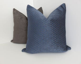 P/Kaufmann Fabrics- Blue Chenille Pillow Covers- Chenille Pillows- Blue Pillow Covers- Accent Pillows- Decorative Pillow Covers- Accent Home
