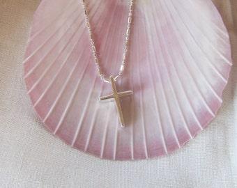 Straight No Bail Cross on Dainty Sterling Diamond Cut Chain, Simple Cross, Spiritual,  Religious,  Confirmation, Communion,  Christian Gift