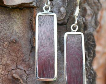 Wooden Sterling Silver Earrings