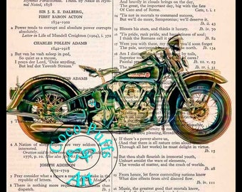 1947 Black Knucklehead HD Motorcycle Art Beautifully Upcycled Vintage Dictionary Page Book Art Print, Drawing