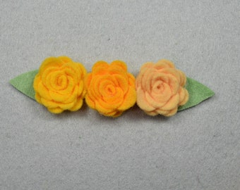 Hair Clip Barrette Made-To-Order -Yellow*Felt Flower, Felt Barrette Felt Clip, Flower Hair Clip, Artificial Flower, Fake Flower, Flower Clip