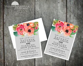 Watercolor Flower Wedding Invitation with Envelope - 5x7