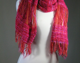 scarf handwoven in wool and mohair