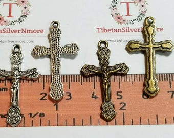 14 pcs per pack 34x20mm One side Crucifix Charm Antique Silver or Bronze Finish Lead Free Pewter