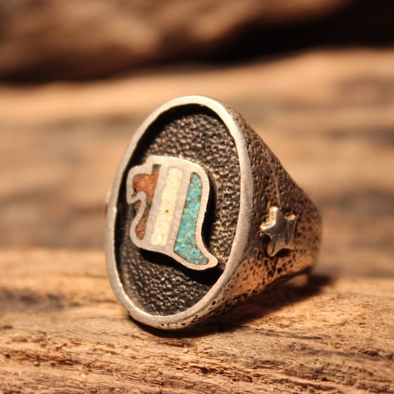 Mens  American Eagle Ring Lone Star Native American Size 11.5 Weight 15.6 grams Mens Ring Red White Blue Sterling  Turquoise  Coral Ring