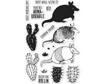 Hero Arts: CM257 Color Layering Armadillo, Clear Stamps, Stamping, 2018 Spring Catalog, Paper Crafting, Scrapbooking, Cardmaking