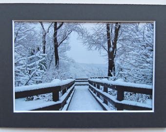 Matted 4x6 Snowfall Symmetry Black and White Winter Snow Photography Print, Signed Artwork, Home Decor Small Wall Art