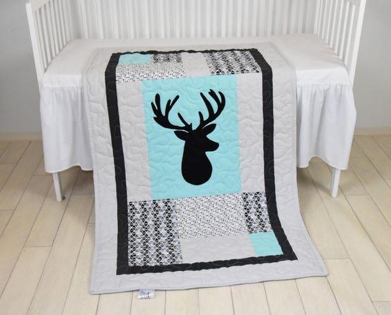Deer Crib  Bedding,  Triangle Quilt,  Mint Gray Black Cross Baby Blanket, Deer  Head  Blanke, Hunting Blanket,  Antler Blanket
