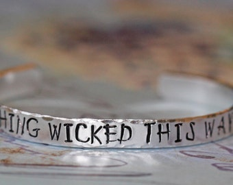 Shakespeare Jewelry  Something Wicked this way Comes Cuff Bracelet - William Shakespeare Macbeth Quote | Halloween Jewelry