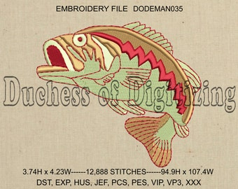 Large Mouth Bass Embroidery Design, Fish Embroidery Design, Bass Embroidery File, Fish Embroidery File, DODEMAN035