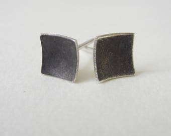 Oxidized Square Earrings (E1) concave 1/4 inch studs solid silver eco friendly modern geometric