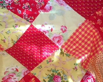 Sweet Red and Yellow flowers Floral  Baby Minky Patchwork Blanket burp cloth Gerber Diapers Stroller Shower gift Nursery