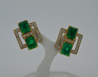 Sophisticated Ladies 18k Yellow Gold, Beryl and Diamond Omega Clip Earrings