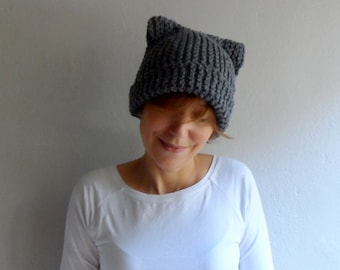 Knit Cat Ear Hat, Cat Ear Beanie, Gray Cat Beanie, Chunky Knit Cat Hat, Winter Accessories,  Holiday Fashion, Winter Hat, Gift under 25