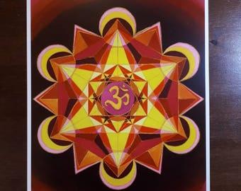 Om Mandala print of a gouache painting.