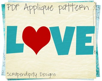 Valentine's Day Applique Template - Love Applique Pattern / Love Quilt Pattern / Boys Valentine Wall Hanging / Seasons Quilt Design AP343-D