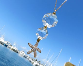 Vintage Crystal and Rhinestone Starfish Necklace // Beach Necklace // Vintage  Double Crystal Prism Necklace // Gold Starfish Necklace