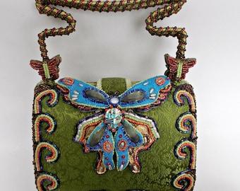 Mary Francis Green Satin Jeweled Beaded Butterfly Purse