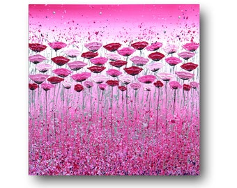 "Pink Floral Painting, Pink Poppies, Floral Wall Art, Silver, Canvas Art, Textured, Abstract Floral, ""Fuchsia Bliss"" 24x24"" by SFBFineArt"