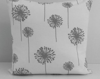 Gray on White Pillow, Throw Pillow Cover, Decorative Pillow Cover, Cushion Cover, Pillowcase, Accent Pillow, Large Dandelion, Cotton pillow.