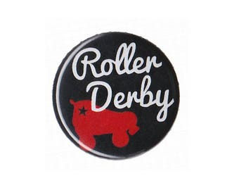 """Roller Derby Button Badge Pinback 1"""", 1.25"""" or 2.25"""" pin"""