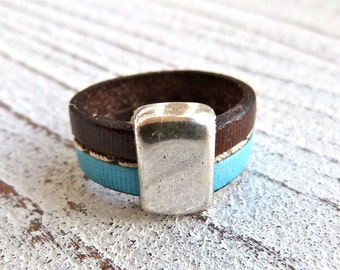 Leather Ring  #63, Ladies Ring,Ring brown turquoise,Leatherring,Handmade Jewelry,Boho Chic, Women, Ring, Zamak Leather,#USA, Statement