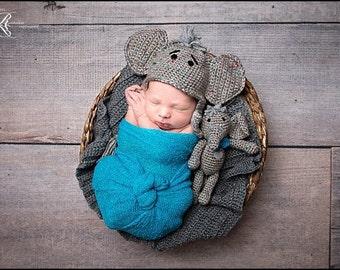 Newborn Baby Elephant Hat, Mini Elephant Buddy, Custom Made to Order