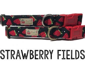 "Strawberry Dog Collar - Summer Dog Collar - Girl Dog Collar - Strawberries Dog Collar - Antique Metal Hardware - ""Strawberry Fields"""