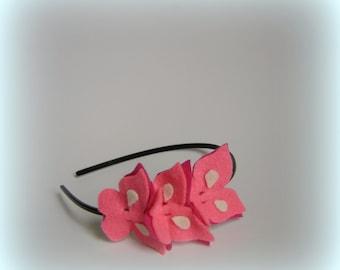Pink headband light baby girls hairbands butterflies gift hairband Valentine butterfly accessories dark pink women girl headbands handmade