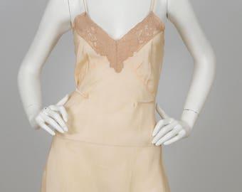 20s/30s Vintage Lace & Silk Peach Step-In Lingerie Sz S