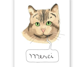 Merci Cat Card
