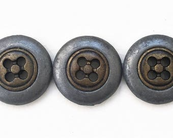 eco friendly vintage corroded distressed two tone metal buttons--matching lot of 3