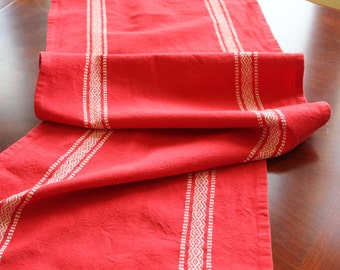 Table Runner - Scandinavian Red Striped