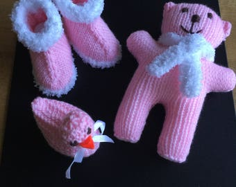 Booties,Teddy and Duck Hand Knitted